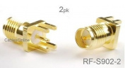 CablesOnline , 2-Pack RP-SMA Female Jack PCB Clip Edge Mount 1.6mm RF Connectors, RF-S902-2