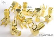 CablesOnline , 10-Pack SMA Female Jack PCB Mount, Gold Plated Right-Angle RF Connectors, RF-M903R-10