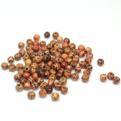 100 Pcs 10mm Fashion Mixed Eye-catching Wood Round Beads for Jewellery Making DIY