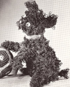 Vintage Crochet PATTERN to make - Loopy Dog Stuffed Animal Soft Toy. NOT a finished item. This is a pattern and/or instructions to make the item only.