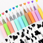 Bao Core 12 Different Colours Cartoon Fresh Star Milky Diamond Colour Gel Pen 0.38mm Smooth Anti Skip