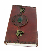 Handmade Leather Journal with Parchment Paper, Double Clasps & Polished Stone (23cm x 14cm )Pendragon Series By Viatori