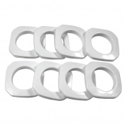 Square Plastic Grommets #10, 3.5cm , 8 Pairs Per Pack, White