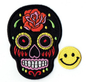 """""""BLACK ROSE MEXICAN SUGAR SKULL"""" Applique embroidered iron on PATCHES for cap, jacket, T-Shirt, jeans, backpack with. and FREE gift by PATCH CUBE"""