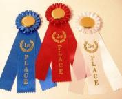 Rosette Award Ribbon Set 1st, 2nd, 3rd {1 of each = 3 total ribbons}