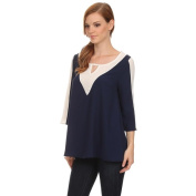 Women's Loose Fit Shirt with Keyhole Neckline