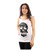 Le Nom Women's Skull Print Tank Top with Raser-cut Back