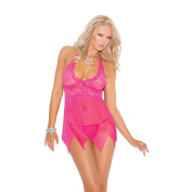 Elegant Moments Women's Pink Lace and Mesh Babydoll and G-string