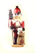 German Christmas Nutcracker Santa Claus with Teddy - 445cm / 18 inch - Authentic German Erzgebirge Nutcrackers - Christian Ulbricht