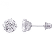 14kt Solid White Gold Superbright Clear Cz Basket Setting Round Screwback Stud Earrings