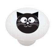 Happy Black Cat High Gloss Ceramic Drawer Knob