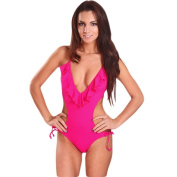 Women's Hot Pink Plunge V-neck Monokini with Ruffles