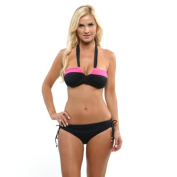Anne Cole Women's Black and Pink Colour Blast Bandeau and Hipster Set