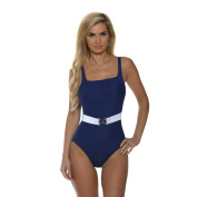 Miraclesuit Women's Navy Blue Belterra Solid Colorblock One-Piece
