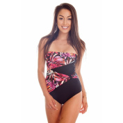 Dippin Daisy's Orange Leaves Draped Overlay Strapless Bandeau One Piece