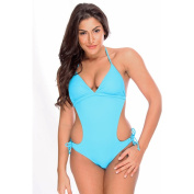 Women's Blue Mailot One Piece Monokini with Scoop Sides