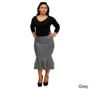 Womens Fold Over Faux Leather Trumpet Skirt