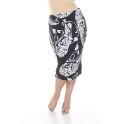 White Mark Women's Plus Size 'Pretty and Proper' Paisley Print Pencil Skirt