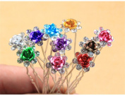 TQWY Lovely Charm 20pcs Wedding Bridal Party Diamante and White Faux Prom Pearl Flower Rhinestone Crystal Hair Pins Clips Grips Pins Hairpins Bridesmaid Clips