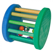 Grimm's Large Wooden Rolling Wheel Baby Toy with Rattling Balls & Bell, Blue & Green