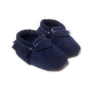 Etrack-Online Baby Boy Pu Suede Leather Soft Soled Shoes Moccasins Navy Blue 12-18 Month