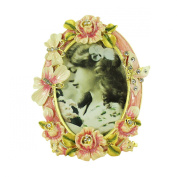 Pink Rose Butterfly Picture Frame Bejewelled Victorian Style