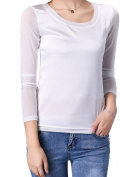 Helan Women's Basic Pure Colour Long Sleeve Round Neck Blouses