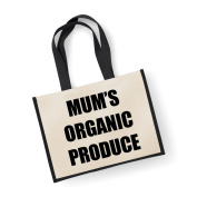 Large Jute Bag Mum's Organic Produce Black Bag Mothers Day New Mum Birthday Christmas Present