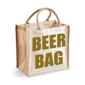 Medium Jute Bag Beer Bag Natural Bag Gold Text Mothers Day New Mum Birthday Christmas Present
