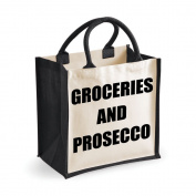 Medium Jute Bag Groceries And Prosecco Black Bag Mothers Day New Mum Birthday Christmas Present