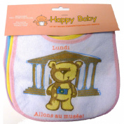 Set of 7x PVC Plastic and Cotton Baby Bibs with 7 Days of the Week Imprinted on Each [French Language]
