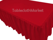 1.5m Fitted Tablecloth Single Pleated Polyester Table Skirt Cover W/top Topper Red