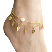 Gold Multi-Layered Leaves Charm & Faux Pearl Chain Anklet Foot Jewellery