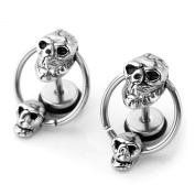 JOVIVI Stainless Steel Double Skull Hoop Ear Tragus Cartilage Helix Stud Earring, 2pc