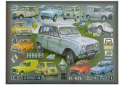 FRENCH VINTAGE METAL SIGN 40x30cm RETRO AD RENAULT 4L ALL TYPES FROM 1961 TO 1992 BY E. PRAT