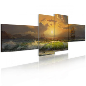 RAIN QUEEN Sunset from Sea Sailing Ship Painting Wall Art