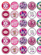 40th Birthday Female 30 Assorted Premium Rice Paper Cake Toppers