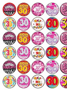 30th Birthday x 30 Assorted Female Premium Rice Paper Cup Cake Toppers (3.5cms x 3.5cms)