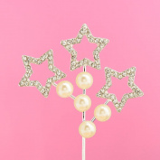 Diamante Cake Topper - Star & Pearl Spray - 5,5 x 5,5cm
