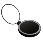 Xcellent Global Travel Makeup Mirror Luxury Folding Handheld Double-sided 1x/5x Magnifying Portable Handheld Mirror LED Lighted Cosmetic Compact, Red HG115