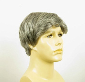natural hair short wig for man grey white poly mesh ref WILLY 44