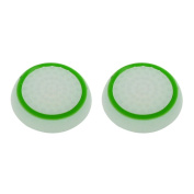 1 Pair Non-slip Silicone Thumb Stick Grip Cap Cover for PS4 Xbox One Joystick - White_Green