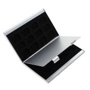 24 in 1 Aluminium Memory TF Card Holder Micro SD Game Card Storage Case Organiser Silver