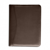 Chocolate Brown Leather Deluxe Letter Size Zip Around Portfolio