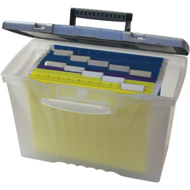 Storex Portable File Box with Organiser Lid