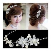 Calcifer® 1pcs Handmade Crystal Rhinestone+ Pearls Headdress Bridal Wedding hair accessories Headwear Headpiece Head Flower