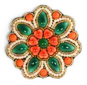 Porcelain Flower Brooch Emerald Coral - Fantasy Jewellery