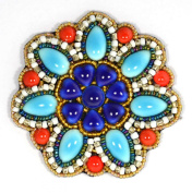 Midnight Blue Turquoise Porcelain Flower Brooch - Costume Jewellery
