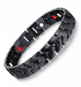 MG Jewellery Stainless Steel Black Plated Heart Link Chain 4 in 1 Energy Power Bracelets Health Wrist Band