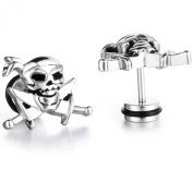 Stayoung Jewellery Biker Mens Stainless Steel Pirates Skull Stud Earrings Set 2pcs Colour Silver - Christmas Gift, One Pair